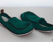 Slippers with Leather Sole in turquoise green - below the ankle - all adult shoe sizes US 4-12 EUR 35-46