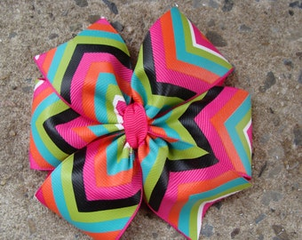 Chevron Hair Bow in shocking pink green and black Large Pinwheel Hair Bow Chevron hair bow multi colors hair bow fancy hair bow