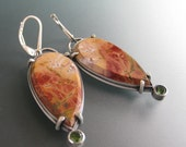 Red Creek Jasper & Green Peridot Earrings, Sterling Lever Back Ear Hooks, Gemstone Earrings