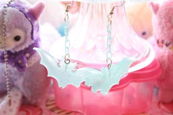 Pop Kei Milky Blue Bat Dangle Earrings