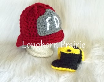 Red Fireman Helmet & Boots Set  (sizes 0 - 12 months available) Firefighter hat and booties - photo prop