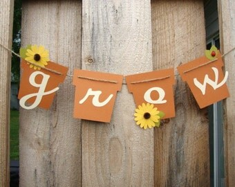 Garden Grow Banner Home Decor Garland Wall Hanging Baby Shower Garden Party Gardening Spring Summer Daisies Ladybugs
