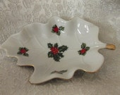 Christmas Lefton China Holly and Berry Leaf Shaped Trinket Dish or Candy Bowl #02451 Holiday Serving Collectible