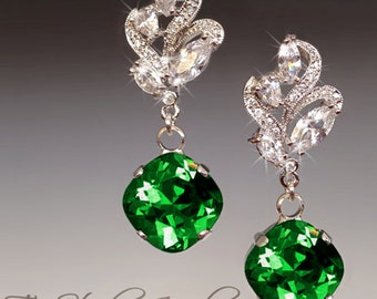 Emerald Moss Green Bridesmaid Earrings - Cushion Cut Stones