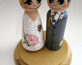 Wedding Cake Topper / Sports Fans / Custom Painted Wood Peg Dolls with plaque