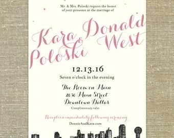 Dallas Skyline Wedding invitation SAMPLE ONLY