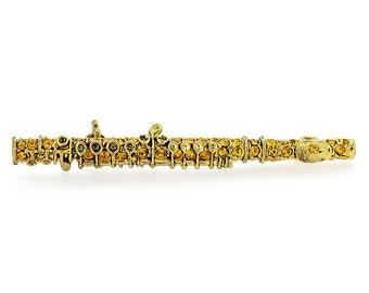 Crystal Golden Flute Brooch Pin 1012463