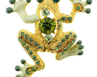 Green Frog Crystal Pin Brooch 1010152