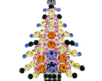 MultiColor Christmas Tree Crystal Pin Brooch 1002213