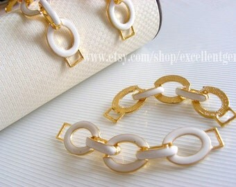 Clearance-10 bracelet connector Gold plated, Colored Chain Connector,necklace in white color, -16mm x 70mm