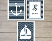 Nautical Theme Nursery Baby Name Printable - Set of 3 - 8x10 - Sail, Navy Blue, Anchor, Boat, Ship, Sea Poster Nursery Decor Wall Art