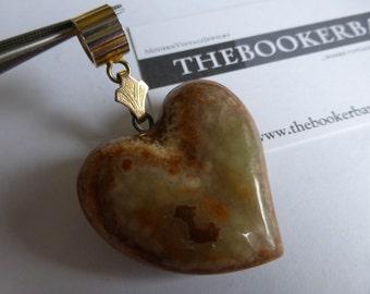 vintage HEART Pendant pendent Carved Jasper Stone Goldtone Bail Huge Large Big Old Retro motif FREE SHIPPING usa
