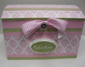 Pink Princess Time Capsule Treasure Trunk  for Girly Stuff/Pink and White Damask