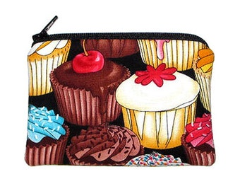 Chocolate and Vanilla Cupcakes Coin Change Purse Small Zipper Pouch
