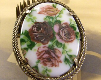 Pendant for Necklace Pink Rose Design on Glass Cab Gold Tone Frame - epsteam vestiesteam