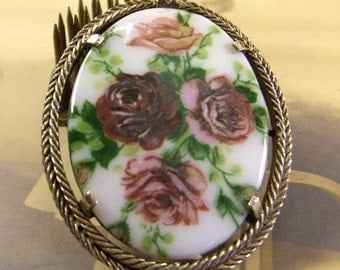 Pendant for Necklace Pink Rose Design on Glass Cab Gold Tone Frame - Romantic Jewelry