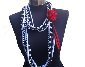winter long elegant women black &white colored recycle scarf necklace-strips pattern-red fabric flower-ethnic textile jewelry-women gift