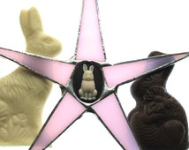 Chocolate Bunny Star- 8.5 inch pink stained glass with brown and white bunny cameo center