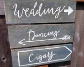 Hand Painted Rustic Wedding Sign - Your choice of wording and arrow type - Listing is for one sign
