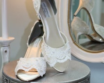 Lace Wedding Shoes By Arbie Goodfellow - Custom Lace Shoes - Couture Hand Beaded Wedding Shoes - Ivory Wedding Shoes - Pearls And Crystals