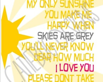 You are my Sunshine Lyrics Nursery Digital Art Print