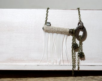 Vintage Key Necklace Twine Crochet Feather Fringes