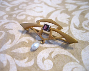 Antique Victorian Gold Filled Pin Amethyst Pearl