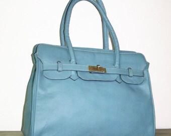 Light blue Leather Handbag  Purse Cross-body Bag, Ilita
