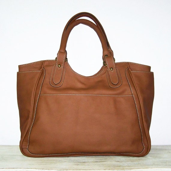 "Julia-xl. Tan Leather Tote Leather Tote Bag Large Leather Shopping Tote Leather Tote Handbag / fits a 17"" laptop"