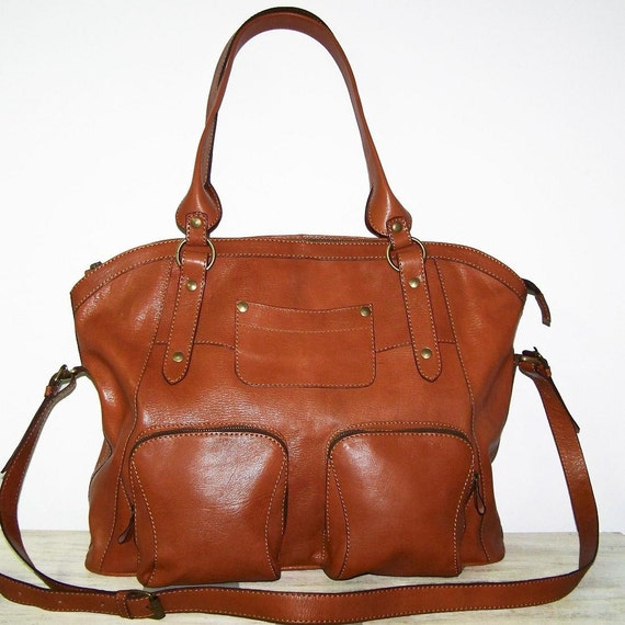 "Caramel Leather Bag Tote Bag Shoulder Cross-body Bag Handbag Magui XXL, fits a 17"" laptop"