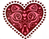Heart Design on Womans Quality T Shirt Free Shipping