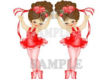 Red Vintage Ballerina Brunette Girls left and right BG6 digital, download, printable, greeting card image