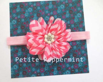 Baby headband, newborn headband, infant headband, toddler headband - Pink Chevron Flower Headband
