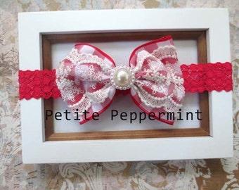 Red Baby Bow Headband, Baby headband, baby girl headband, newborn headband, toddler headband