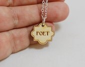 poet engraved wood necklace