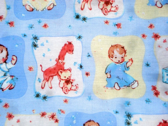 Super SALE : Babies on blue David Textiles fabric FQ or more