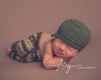 Newborn camo pants and hat, baby boy or baby girl, camouflage