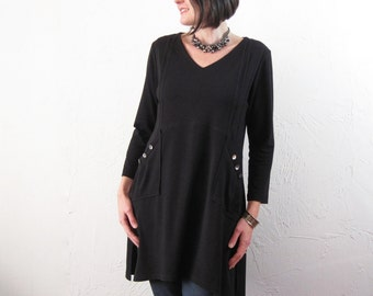 Tunic - Black Bamboo/Cotton Knit with Pintucks and Shell Buttons