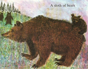 BEARS in the woods, illustration by Brian Wildsmith, nursery print of cute brown bears