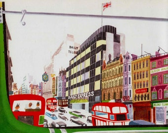 LONDON print  of Fleet Street from a Double Decker bus -1960s mid century illustration
