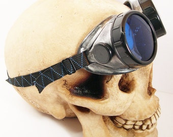 STEAMPUNK Cyber Welders Goggles - Antique Distressed Two - Tone SILVER and BLACK
