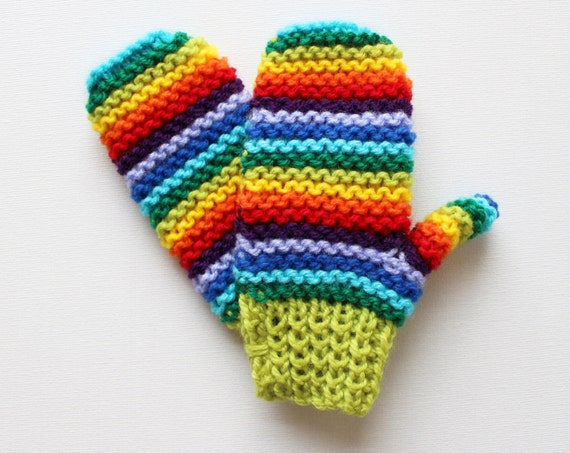Lime Rainbow Pixie Mittens - Colourful and Warm Childrens Mittens - Rainbow Gloves for Children - Bright Rainbow Knitwear for children