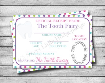 Tooth Fairy Receipt | Bright Polka Dots | INSTANT DOWNLOAD | Tooth Fairy Certificate