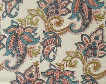 hand printed cotton fabric - paisley print on off white - 1 yard - ctjp173