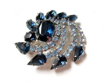"Vintage Blue Rhinestone Brooch Swirling Silver Unique Large 2 1/4"" Pin Under 50 Gift Idea For Mom For Her Blue Jewelry"