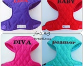 Embroidered Quilted Comfort  Soft Harness -  Made to Order-
