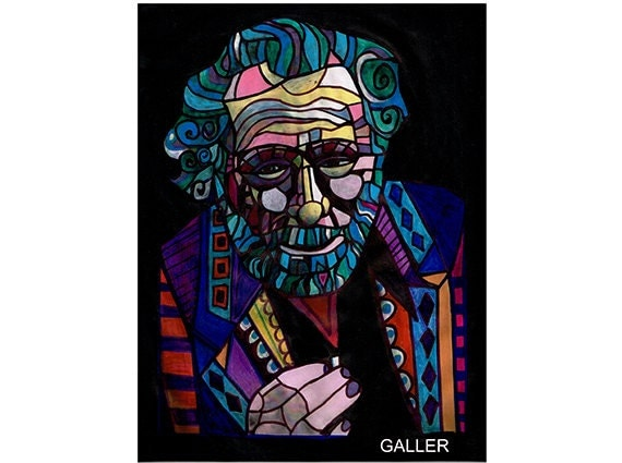 Charles Bukowski Original Painting Abstract Modern Author Famous Writer Folk Art by Heather Galler