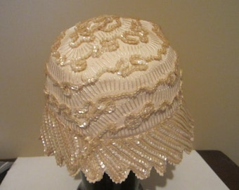 Vintage valerie modes hat Cloche Sequined