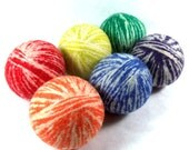 Wool Dryer Balls - Rainbow and White Swirl - Set of 6 Eco Friendly - Can be Scented or Unscented