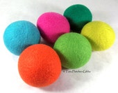 Wool Dryer Balls - Neon Lights - Set of 6 Eco Friendly - Can be Scented or Unscented